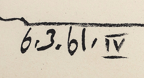 "Pablo picasso, litografi, ""les banderilles"", daterad 6.3.61 i trycket."