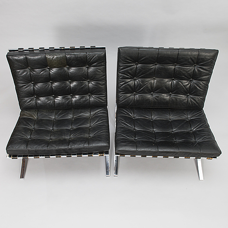 Ludwig mies van der rohe,  a pair of 1965 'barcelona' easy chairs for knoll.