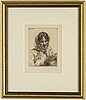 Anders zorn, etching, signed, dated 1913 in the print.