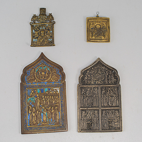 Four russian brass icons, 19th century.