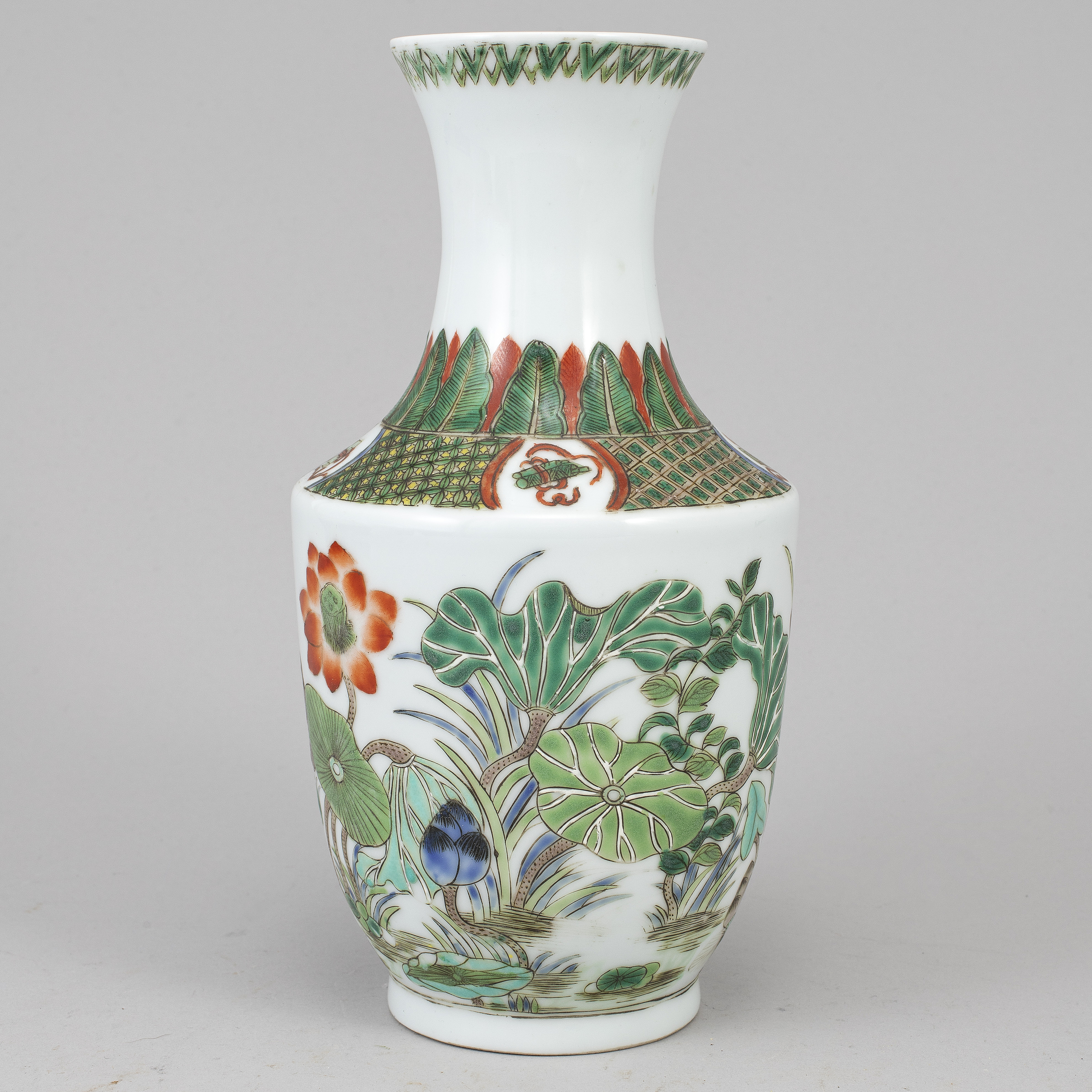 A Famille Verte Chinese Scrolling Lotuses Porcelain Jar Early 20th Century