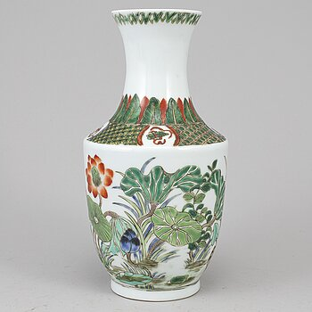 A Chinese famille verte vase, 20th century,
