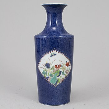 A powder blue and famille rose vase, 20th century.