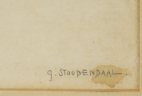 Georg stoopendaal, watercolur, signed.