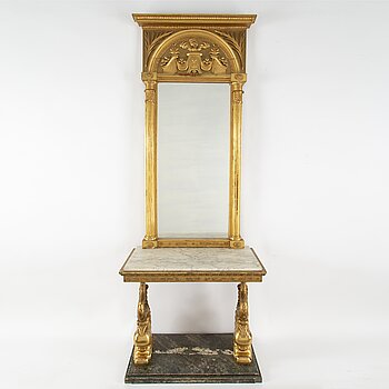 A Swedish mirror and console table, Empire, first half of the 19th century.