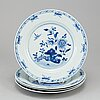 Six blue and white plates, qing dynasty, qianlong (1736-95).