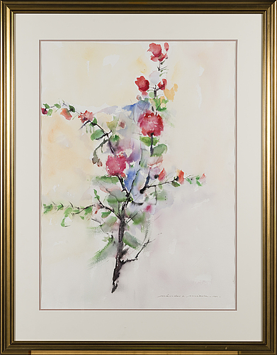 Nandor mikola taulu, water colour, signed and dated 1989.