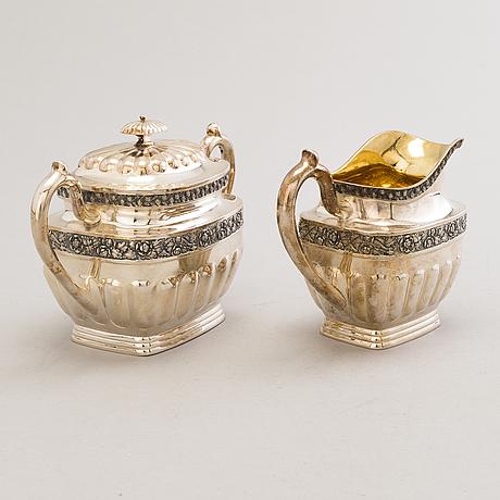 Juho tepponen, a lidded sugar bowl and a cream jug in silver with gilt interior, helsinki 1936.