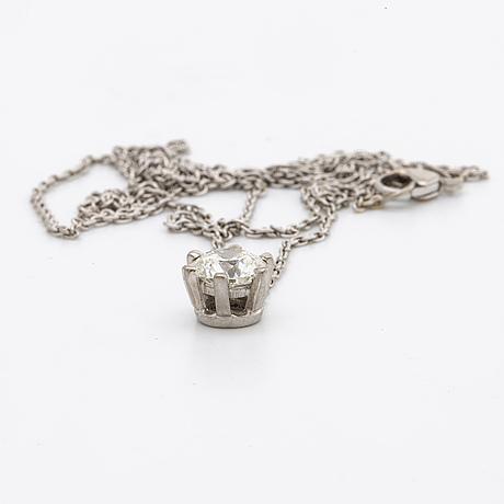 Diamond pendant w chain 18k whitegold 1 brilliant-cut diamond approx 1,10 ct approx h-si.