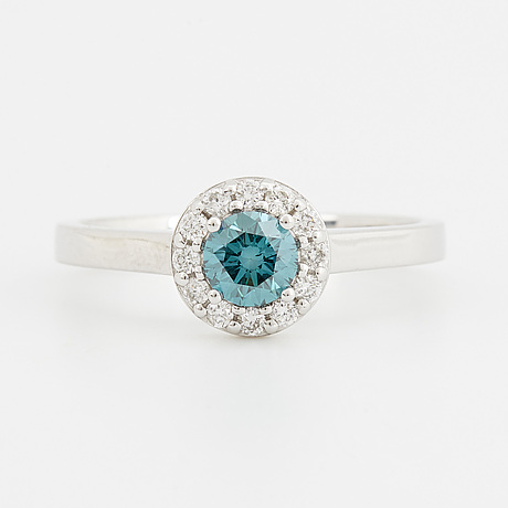 A color treated blue diamond ring.