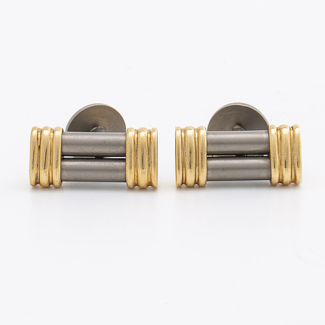 Cufflinks titanium and 14k gold.