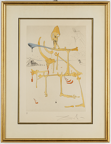 "Salvador dalÍ, drypoint etching with stencil ""quevedo´s visions"" 1975, 54/300."