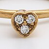 Ring 14k gold w 3 brilliant-cut diamonds approx 0,05 ct in total.