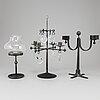 Bertil vallien, three wrought iron candelabla from boda smide.