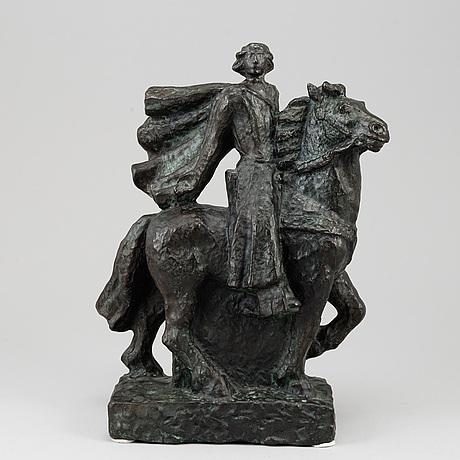 Ivar johnsson, sculpture, bronze, signed i.j and foundry stamp rosengren limhamn.