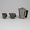 A 3-part pewter coffee set by gab 1935.