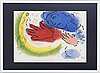 """Marc chagall, lithographe with color, """"l'ecuyère"""", sorlier, paris 1956, signed in the print."""