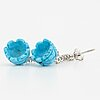 A pair of carved turquoise and brilliant-cut diamond earrings.