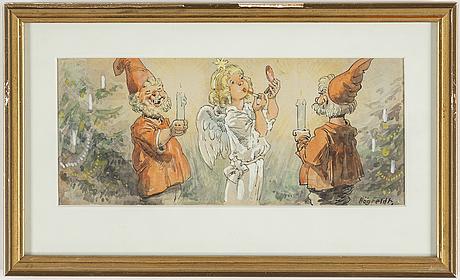 Four signed watercolors by robert högfeldt.