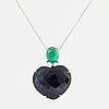 Heart shaped checker-cut sapphire and cabochon-cut emerald necklace.