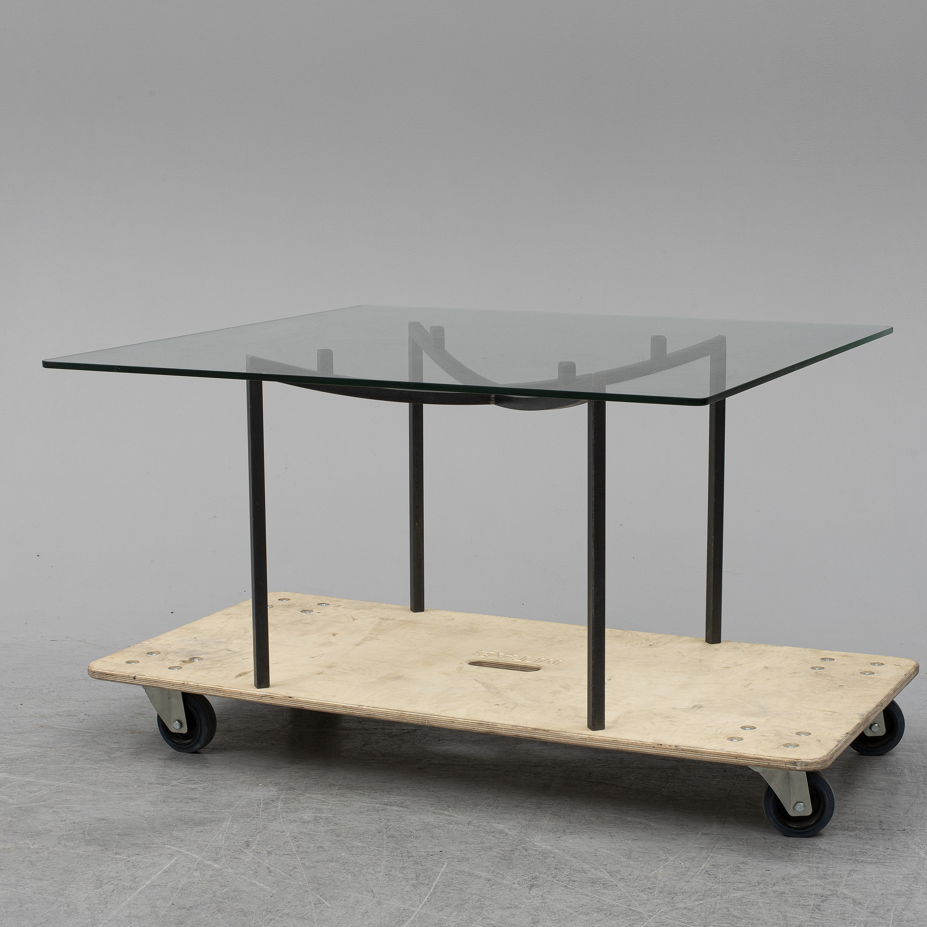 - GEORG TOTH, An Iron And Glass Coffee Table, Signed G. Toth And