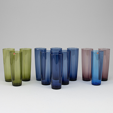 Tapio wirkkala,  a 12-piece set of juice glasses, model 2204 for iittala. in production 1956-1969.
