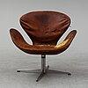 Arne jacobsen, a 'svanen' easy chair, fritz hansen, denmark.