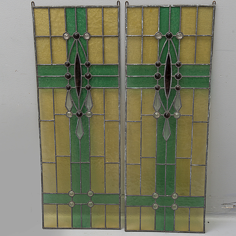 A pair of stained glass windows, mid 20th century.