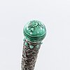 An indien  malachite and turquoise stick later part of the 19th century.