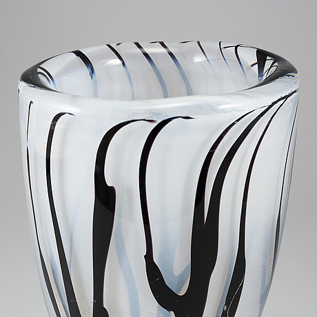 Vicke lindstrand, a glass vase from kosta, 1950's.
