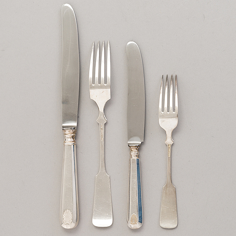 A 49-piece set of silver cutlery with shell decoration, hämeenlinna and turku, finland 1938-42.