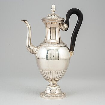 A Swedish Empire 19th century silver coffee-pot, mark of Adolf Zethelius, Stockholm 1830.