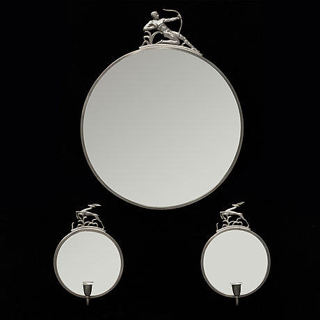 A mirror and a pair of girandole mirrors, pewter and glass, probably 1920-30s.