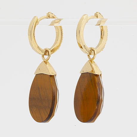 Drop shaped doublet stone and brilliant-cut diamond earrings.