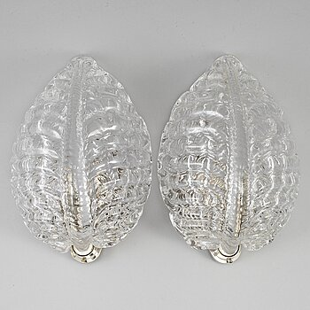 A pair of glass wall lights, mid 20th Century.