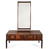 Aksel kjersgaard, a rosewood mirror and chest of drawers from odder, denmark, 1960's.