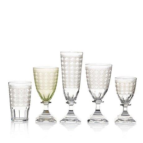 A swedish kosta odelberg glass service, 1900-tal. (72 pieces).