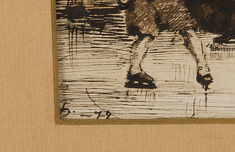 Helene schjerfbeck, ink/sepia/charcoal drawing, signed and dated-79.