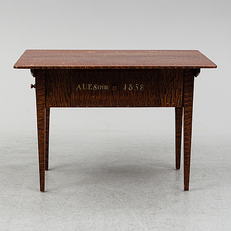A painted swedish traditional table, dated 1858.
