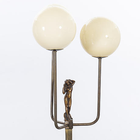Floor lamp, brass and glass, armaturbolaget malmö, 1930/-40's.