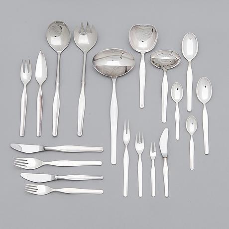 Tapio wirkkala, a 138-piece set of 'tapio' silver cutlery, kultakeskus, hämeenlinna, finland, around 1980.