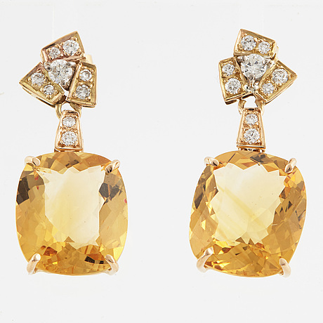 Faceted citrines and diamond earrings.