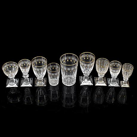 63 glasses 'odelberg' and 'odelberg junior' from kosta, sweden.