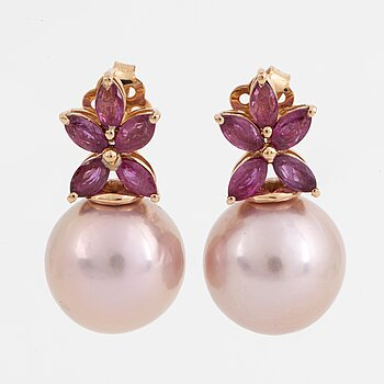 Cultured pink freshwater pearl and navette ruby earrings.