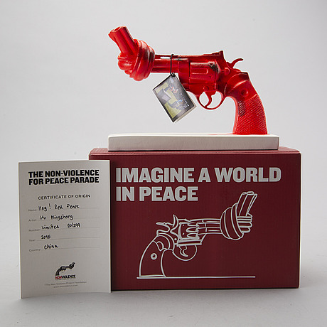 Carl fredrik reuterswÄrd, non violence foundation sculpture numbered 20/299 in cooperation with wu mingzhong.