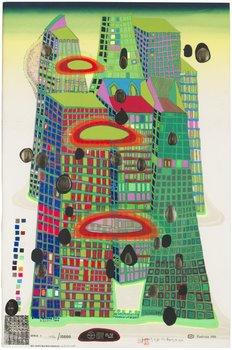 """415. Friedensreich Hundertwasser, """"Good Morning City - Bleeding Town"""" (mit Phosphorfarben überarbeitete Ausgabe)."""