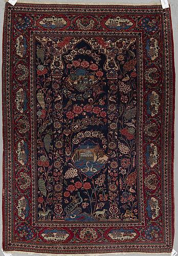A rug, semi-antique kashan, ca 196 x 133 cm.