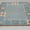 Rakel carlander, matto, flat weave, ca 206,5 x 142-144,5 cm, signed rc.