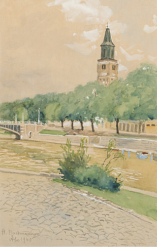 Hugo backmansson, watercolour, signed and dated 1940.