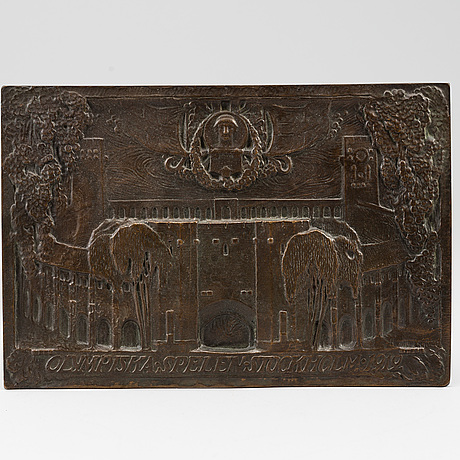 HjÖrdis tengbom, a copper wall plate from the olympic games, stockholm 1912.
